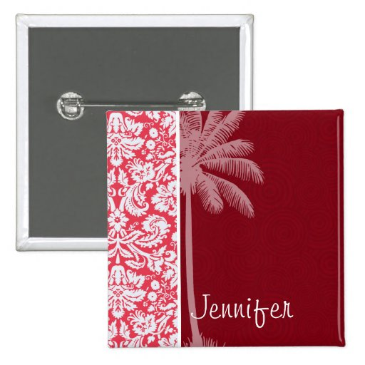 Tropical Red Damask Pinback Button