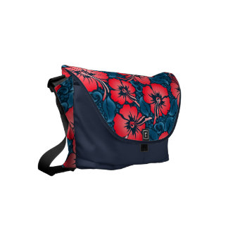 Tropical red flowers on navy commuter bags