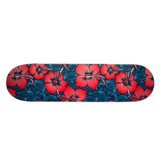 Tropical red flowers on navy custom skateboard