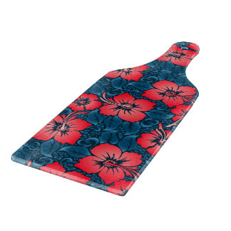 Tropical red flowers on navy cutting board
