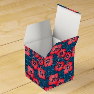 Tropical red flowers on navy favor box