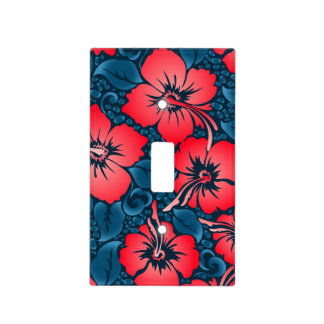Tropical red flowers on navy light switch cover