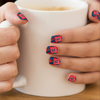 Tropical red flowers on navy minx nail art