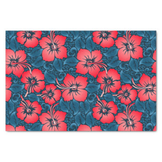 Tropical red flowers on navy tissue paper