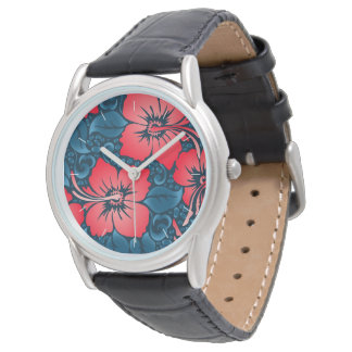 Tropical red flowers on navy watch