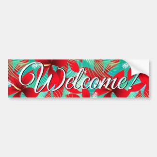 Tropical red hibiscus bumper sticker