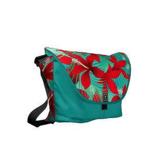 Tropical red hibiscus courier bag