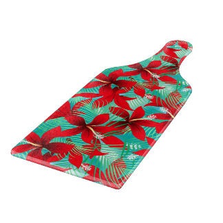 Tropical red hibiscus cutting board