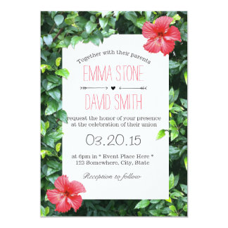 Tropical Red Hibiscus Flowers Hawaiian Wedding Card