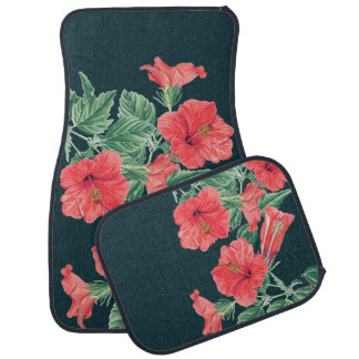 Tropical Red Hibiscus Flowers Island Floor Mats