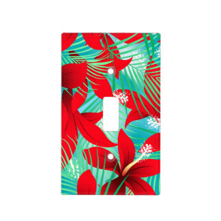 Tropical red hibiscus light switch cover