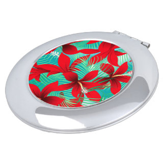 Tropical red hibiscus mirror for makeup