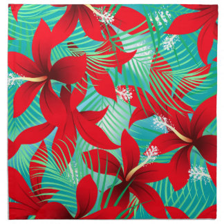 Tropical red hibiscus napkin