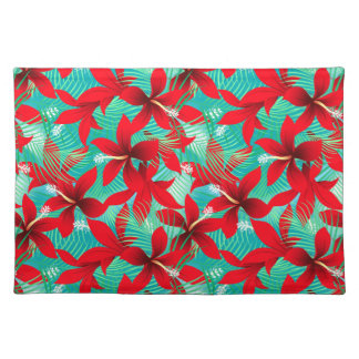 Tropical red hibiscus placemat