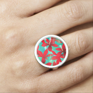Tropical red hibiscus ring
