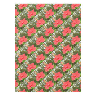 Tropical Red Hibiscus Rose Mallow Tablecloth