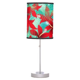 Tropical red hibiscus table lamp