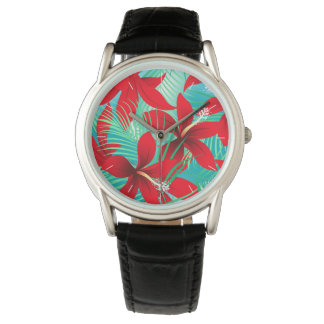 Tropical red hibiscus watch
