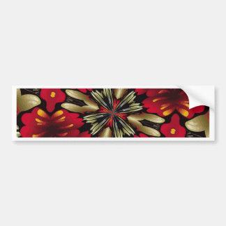 Tropical Red Mandala Kaleidoscope Bumper Sticker