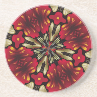Tropical Red Mandala Kaleidoscope Coaster
