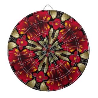 Tropical Red Mandala Kaleidoscope Dartboard