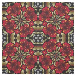Tropical Red Mandala Kaleidoscope Fabric