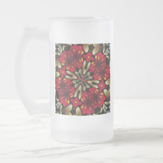 Tropical Red Mandala Kaleidoscope Frosted Glass Beer Mug