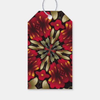 Tropical Red Mandala Kaleidoscope Gift Tags