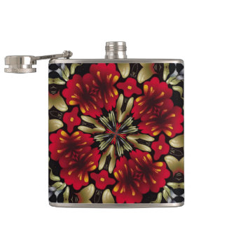 Tropical Red Mandala Kaleidoscope Hip Flask