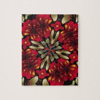 Tropical Red Mandala Kaleidoscope Jigsaw Puzzle
