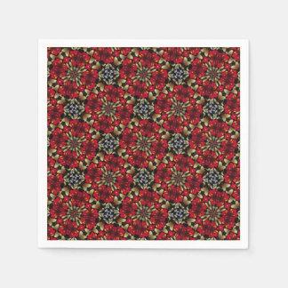 Tropical Red Mandala Kaleidoscope Paper Napkin