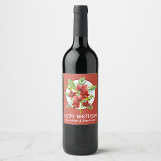 Tropical Red Orchids Floral Watercolor Birthday Wine Label