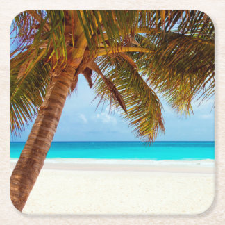 Tropical Relaxing Beach Palm Scene Square Paper Coaster