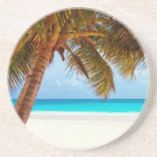 Tropical Relaxing Blue Beach Scene Beverage Coasters