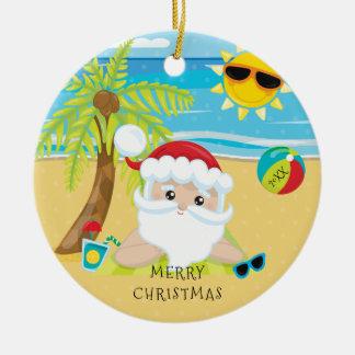 Tropical Relaxing Santa Hawaiian Christmas Round Ceramic Ornament