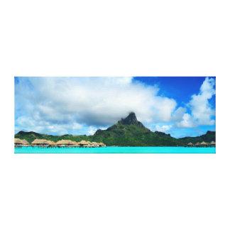 Tropical resort on Bora Bora canvas panorama