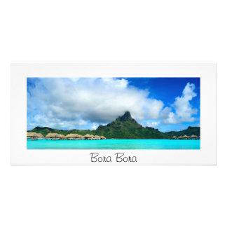 Tropical resort on Bora Bora panorama card