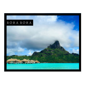 Tropical resort on Bora Bora postcard