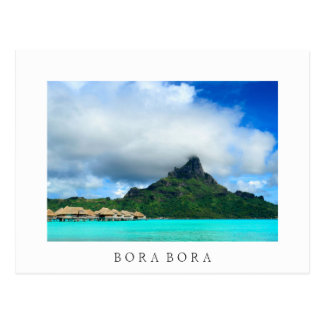 Tropical resort on Bora Bora white postcard