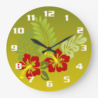 Tropical Retreat inspired design Hibiscus and lime Wall Clocks