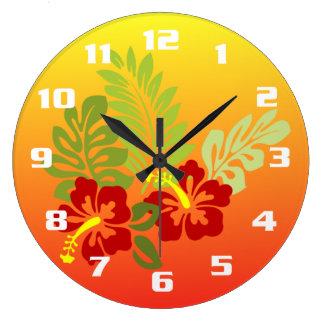Tropical Retreat inspired Design Hibiscus & Sunset Wall Clocks