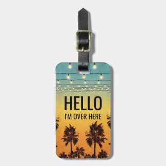 Tropical Retro Mens Personalized Ombre Travel Bag Tag