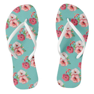 Tropical retro summer flowers flip flops