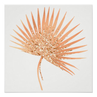 Tropical Rose Gold Blush White Leaf Copper Perfect Poster