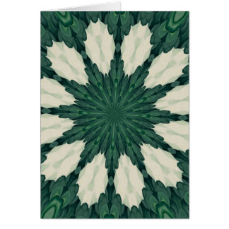Tropical Sacramento Green and Silver Leaf Mandala. Card