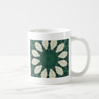 Tropical Sacramento Green and Silver Leaf Mandala. Coffee Mug