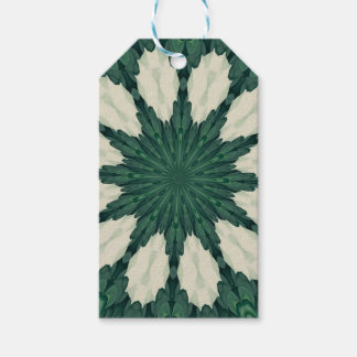 Tropical Sacramento Green and Silver Leaf Mandala. Gift Tags