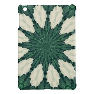 Tropical Sacramento Green and Silver Leaf Mandala. iPad Mini Cases