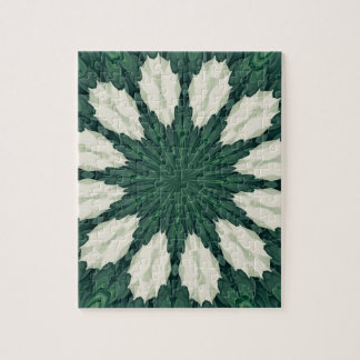 Tropical Sacramento Green and Silver Leaf Mandala. Jigsaw Puzzle