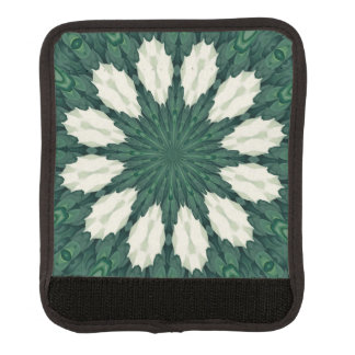 Tropical Sacramento Green and Silver Leaf Mandala. Luggage Handle Wrap